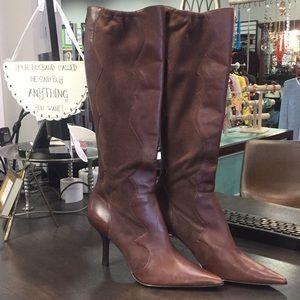 Anne Klein Akdittrich Tall Leather Boots Size 9.5